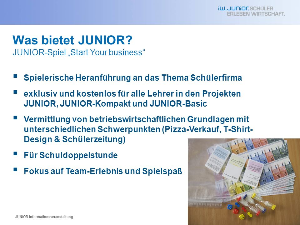 "Was bietet JUNIOR JUNIOR-Spiel ""Start Your business"