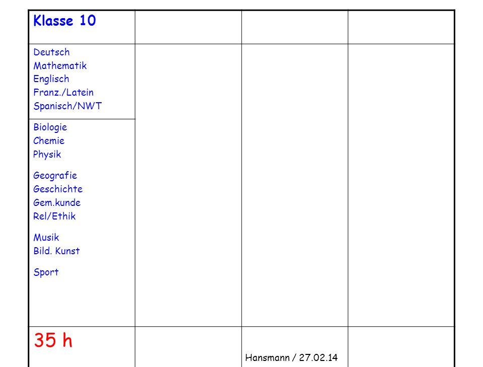 35 h Klasse 10 Deutsch Mathematik Englisch Franz./Latein Spanisch/NWT