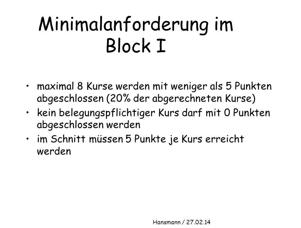 Minimalanforderung im Block I