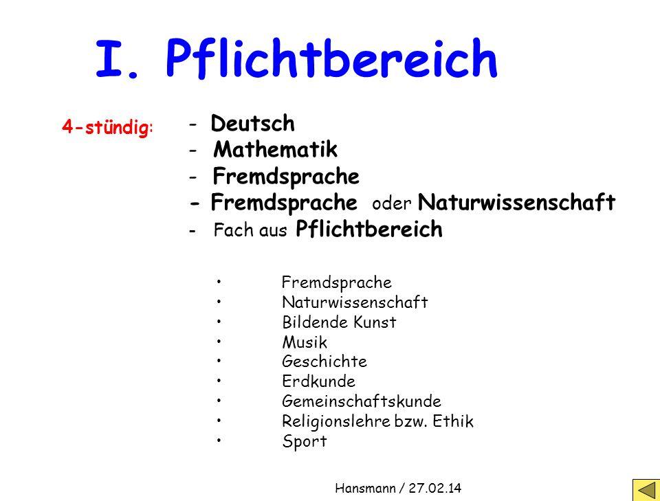 I. Pflichtbereich - Deutsch Mathematik Fremdsprache