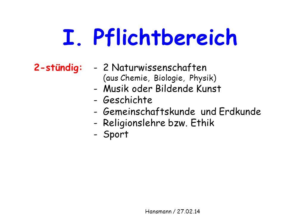 I. Pflichtbereich 2-stündig: - 2 Naturwissenschaften