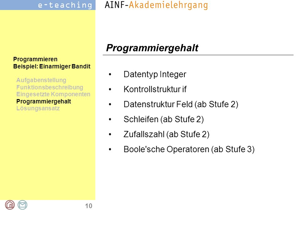 Programmiergehalt Datentyp Integer Kontrollstruktur if