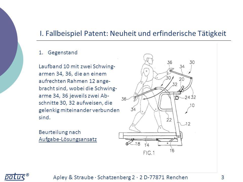 I. Fallbeispiel Patent: Neuheit und erfinderische Tätigkeit