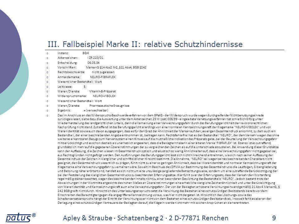 III. Fallbeispiel Marke II: relative Schutzhindernisse