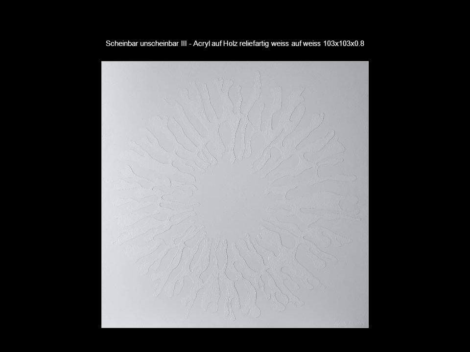 Scheinbar unscheinbar III - Acryl auf Holz reliefartig weiss auf weiss 103x103x0.8