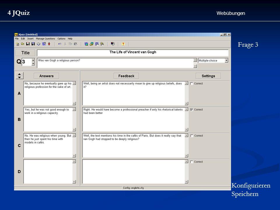 4 JQuiz Webübungen Frage 3 Konfigurieren Speichern