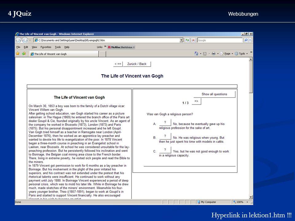 Hyperlink in lektion1.htm !!!