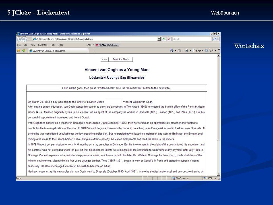 5 JCloze - Lückentext Webübungen Wortschatz