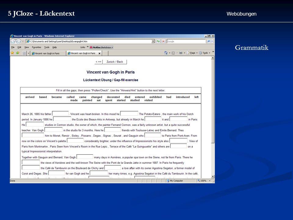 5 JCloze - Lückentext Webübungen Grammatik