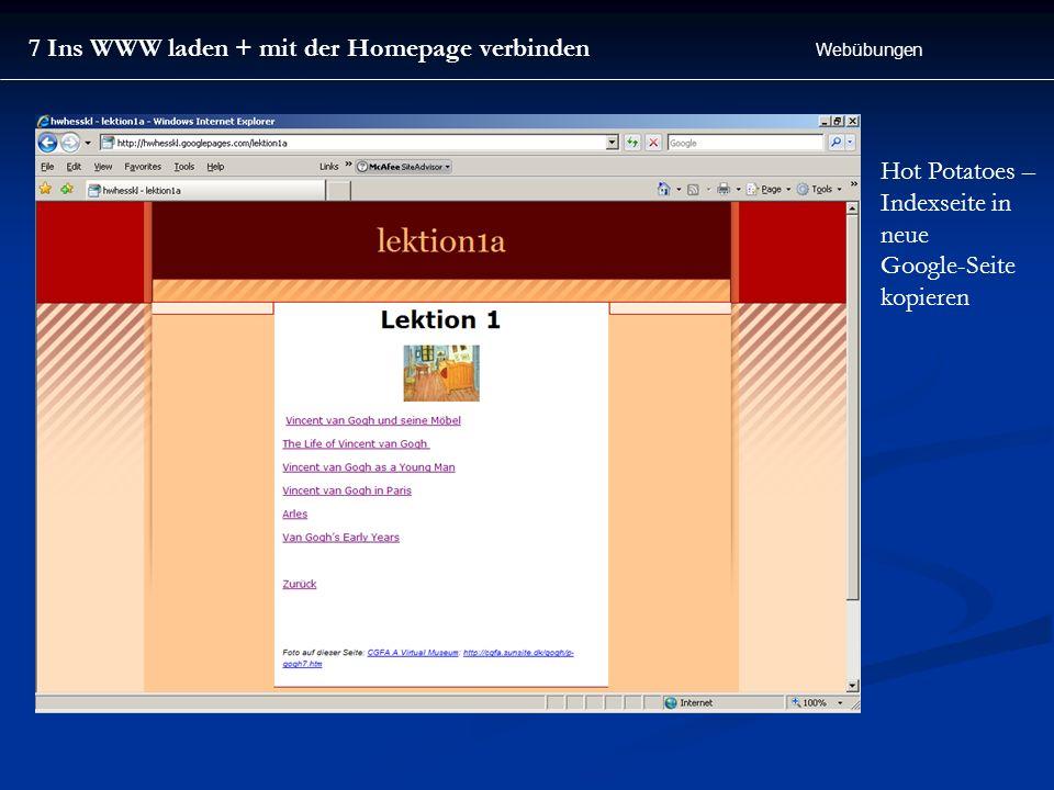 7 Ins WWW laden + mit der Homepage verbinden