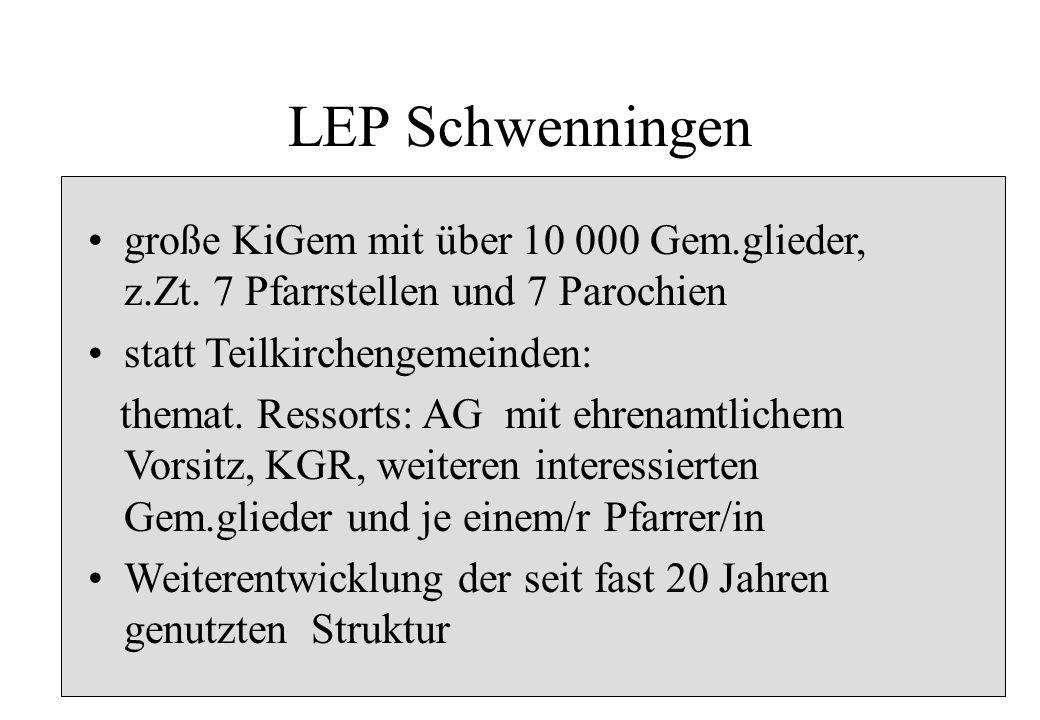 LEP Schwenningen große KiGem mit über 10 000 Gem.glieder, z.Zt. 7 Pfarrstellen und 7 Parochien. statt Teilkirchengemeinden: