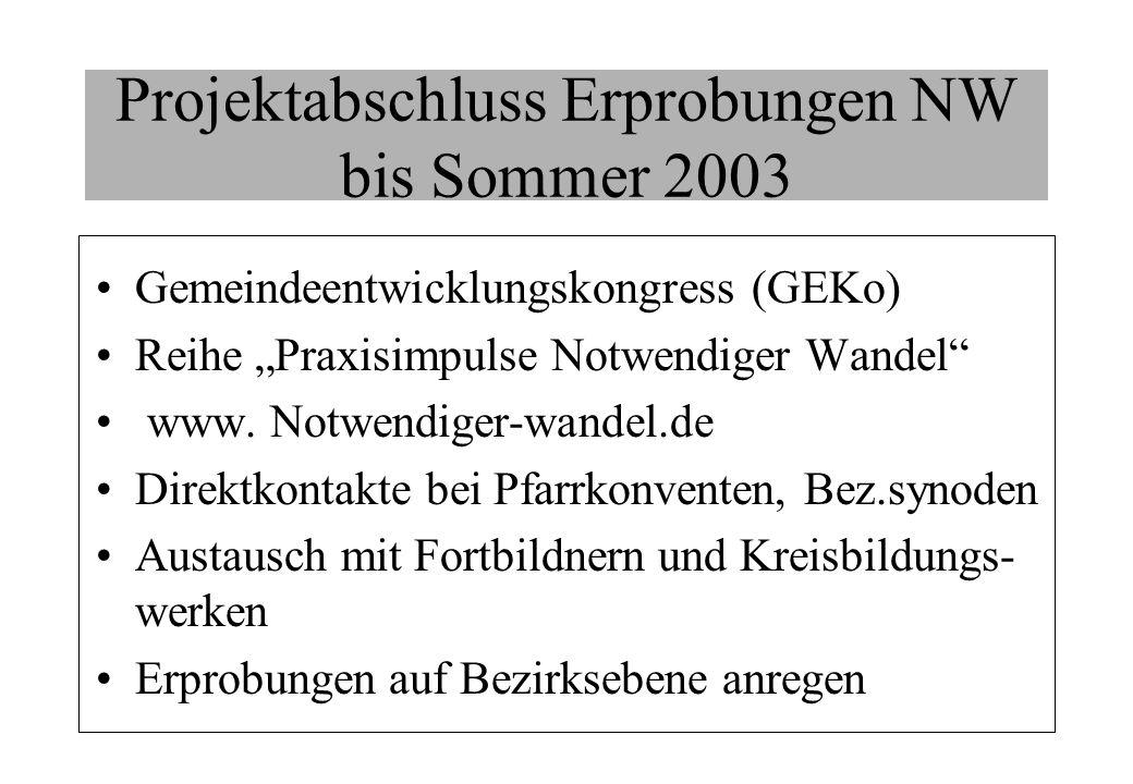 Projektabschluss Erprobungen NW bis Sommer 2003
