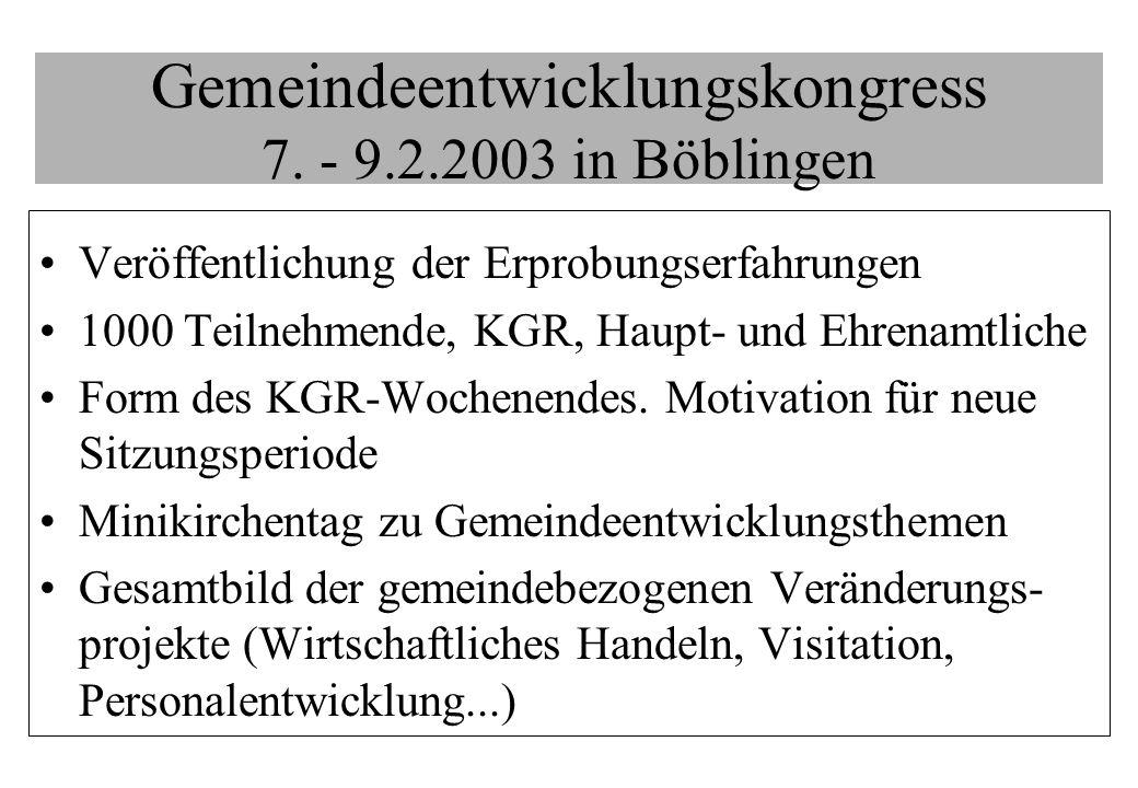 Gemeindeentwicklungskongress 7. - 9.2.2003 in Böblingen