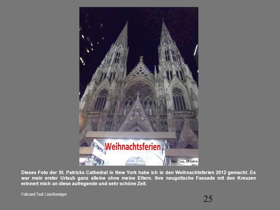 Dieses Foto der St. Patricks Cathedral in New York habe ich in den Weihnachtsferien 2012 gemacht. Es war mein erster Urlaub ganz alleine ohne meine Eltern. Ihre neugotische Fassade mit den Kreuzen erinnert mich an diese aufregende und sehr schöne Zeit.