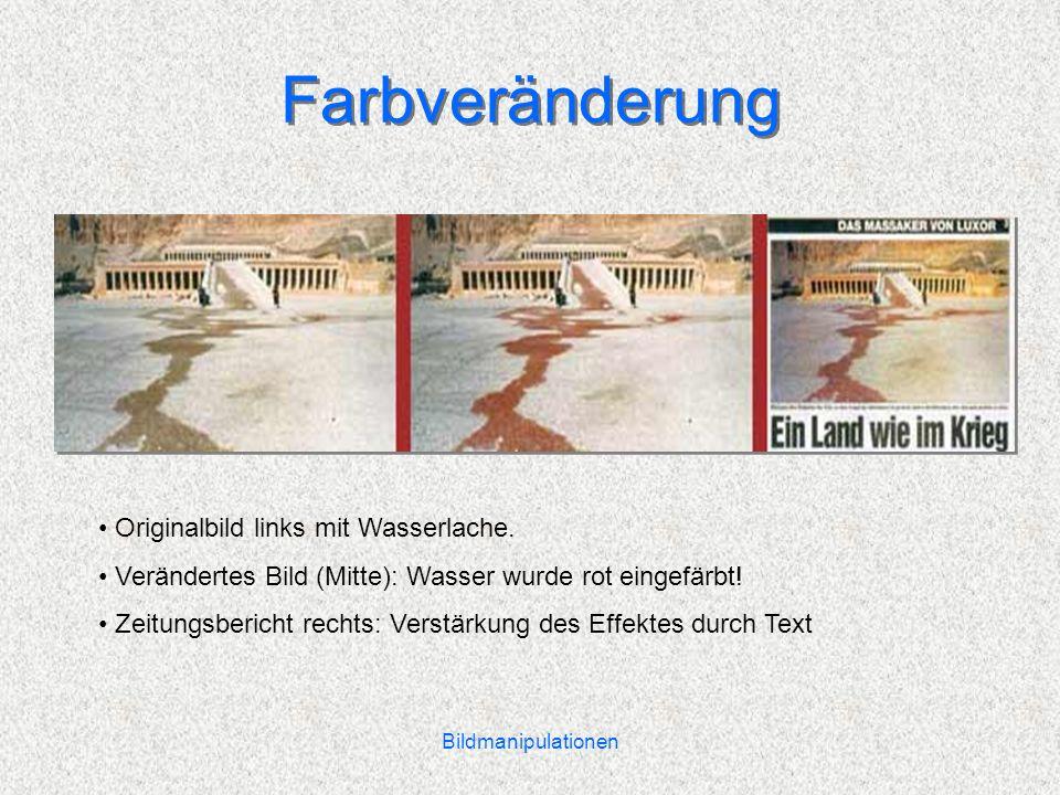 Farbveränderung Originalbild links mit Wasserlache.