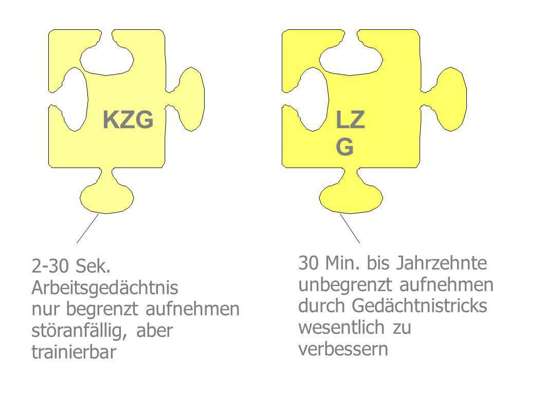 KZG LZG 30 Min. bis Jahrzehnte 2-30 Sek. unbegrenzt aufnehmen
