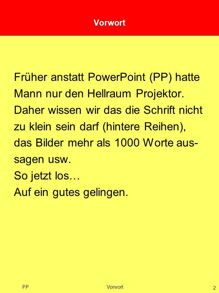 Früher anstatt PowerPoint (PP) hatte Mann nur den Hellraum Projektor.