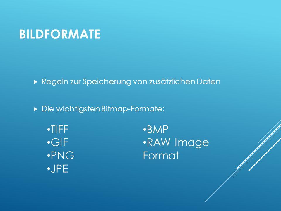 Bildformate TIFF BMP GIF RAW Image Format PNG JPE