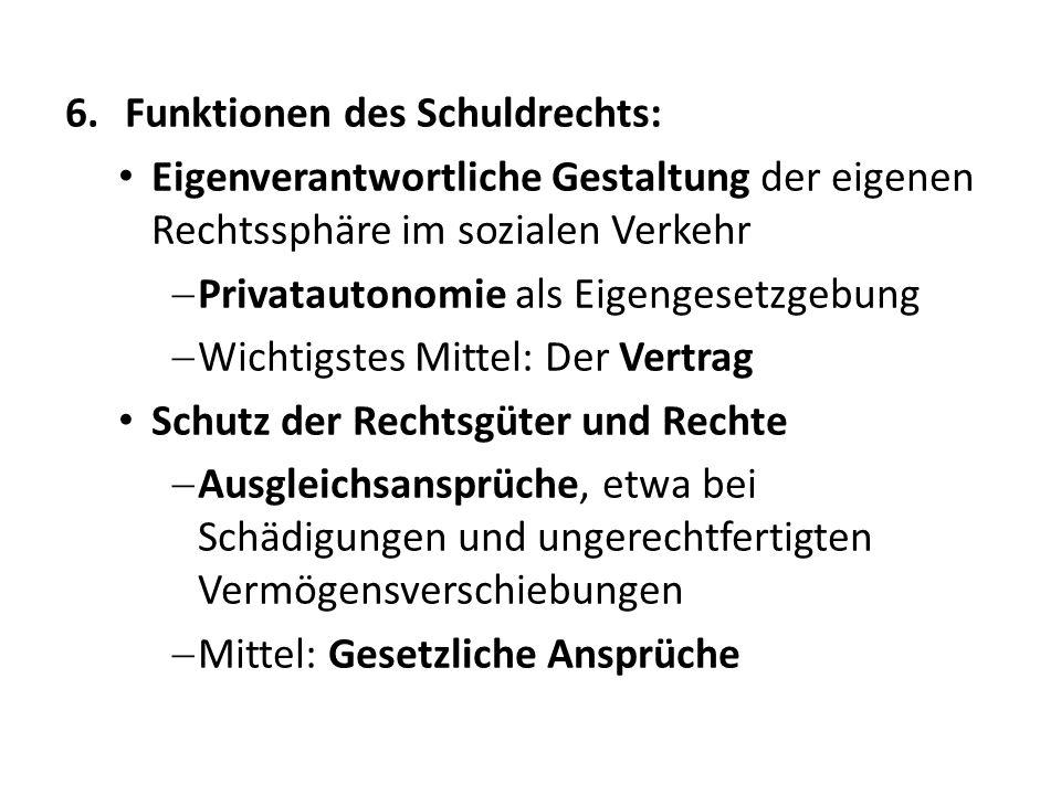 Funktionen des Schuldrechts: