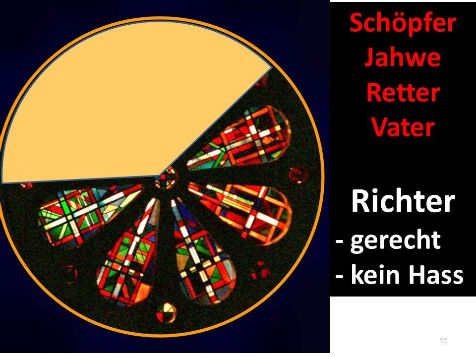 Schöpfer Jahwe Retter Vater Richter - gerecht - kein Hass