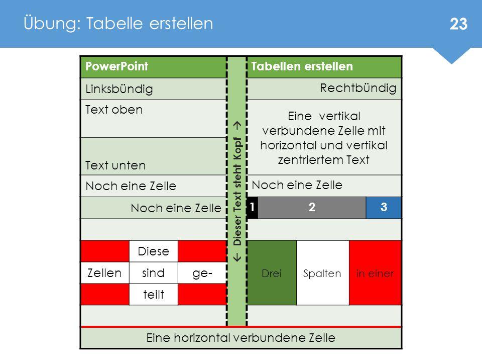 Übung: Tabelle erstellen