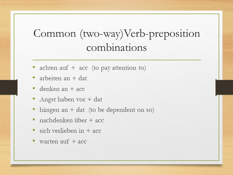 Common (two-way)Verb-preposition combinations