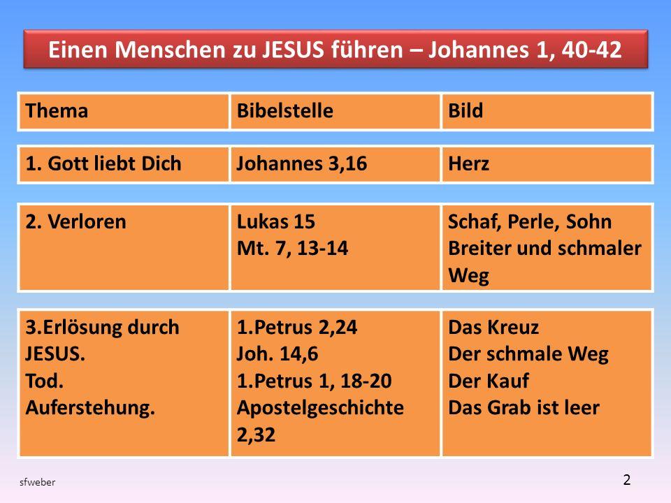 Einen Menschen zu JESUS führen – Johannes 1, 40-42