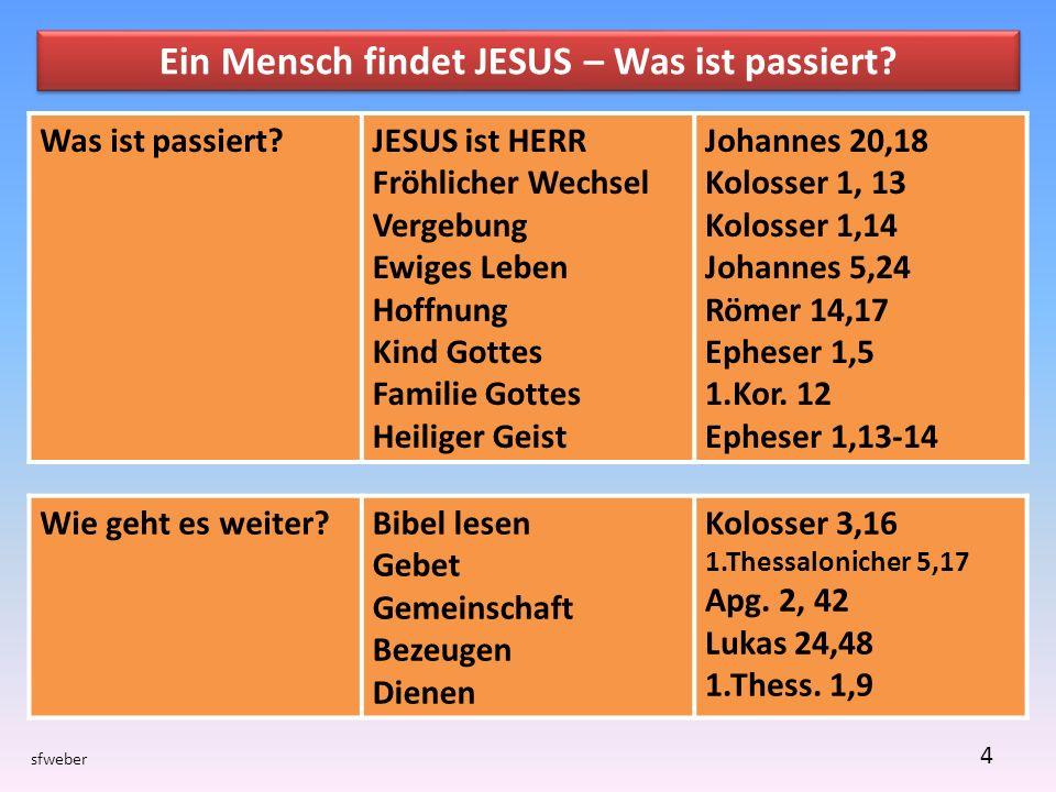 Ein Mensch findet JESUS – Was ist passiert