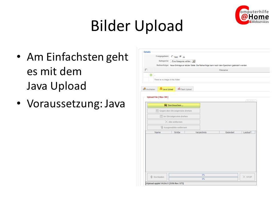Bilder Upload Am Einfachsten geht es mit dem Java Upload