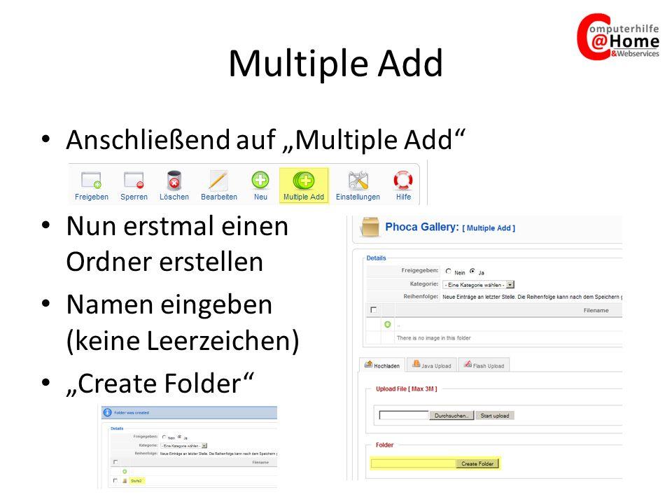 """Multiple Add Anschließend auf """"Multiple Add"""
