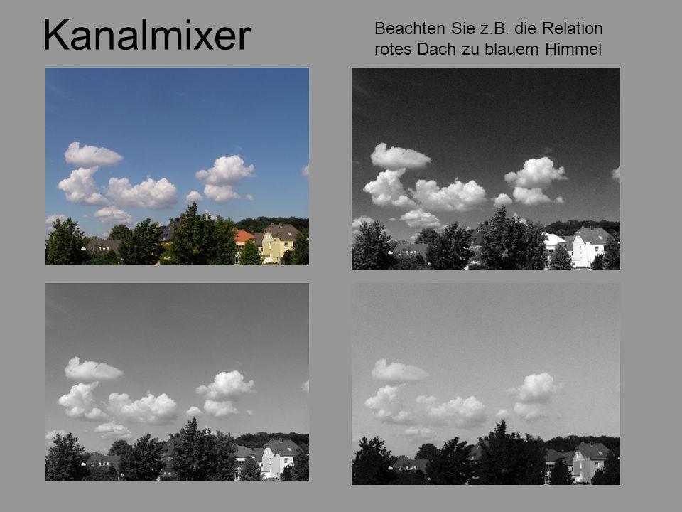 Kanalmixer Beachten Sie z.B. die Relation rotes Dach zu blauem Himmel