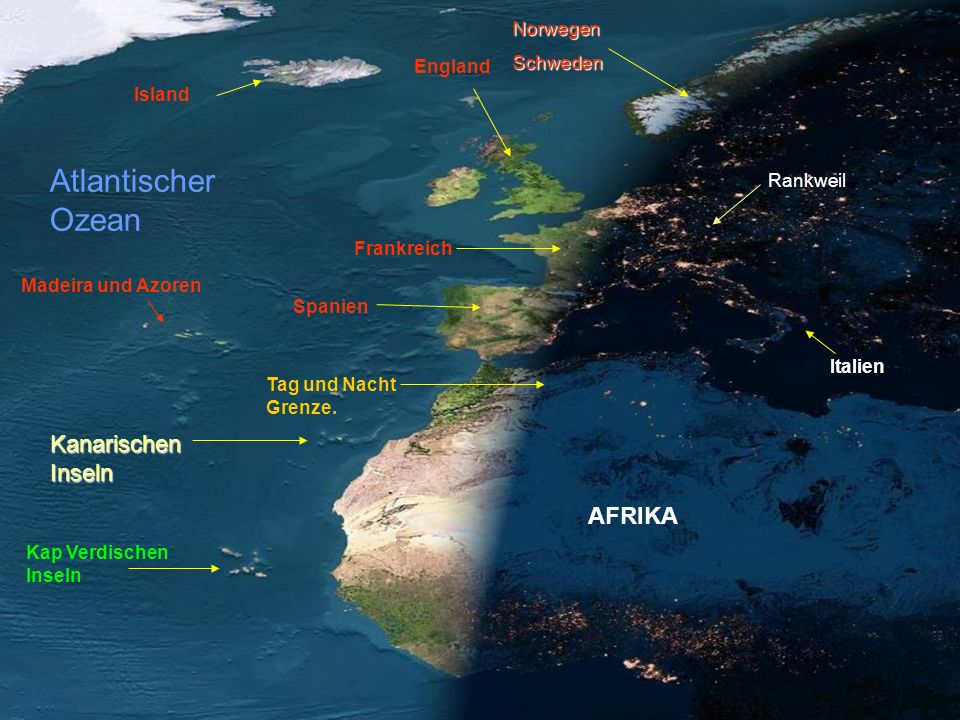 Atlantischer Ozean Kanarischen Inseln AFRIKA Norwegen Schweden England