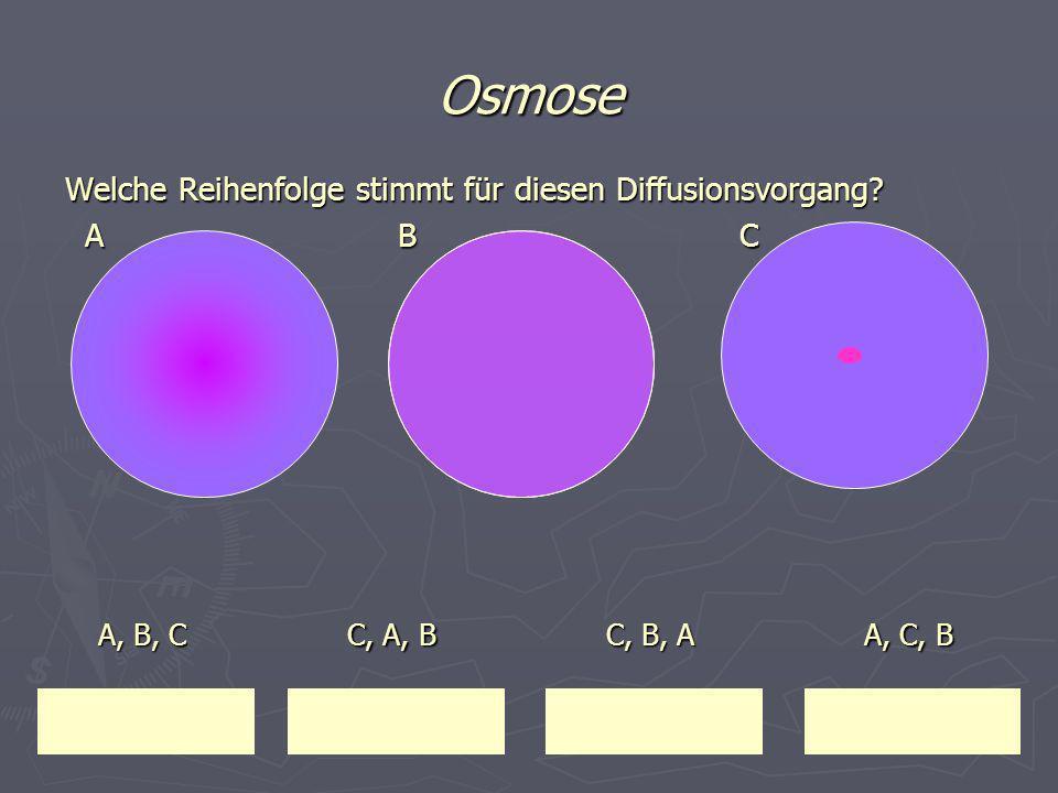 Osmose Welche Reihenfolge stimmt für diesen Diffusionsvorgang A B C.