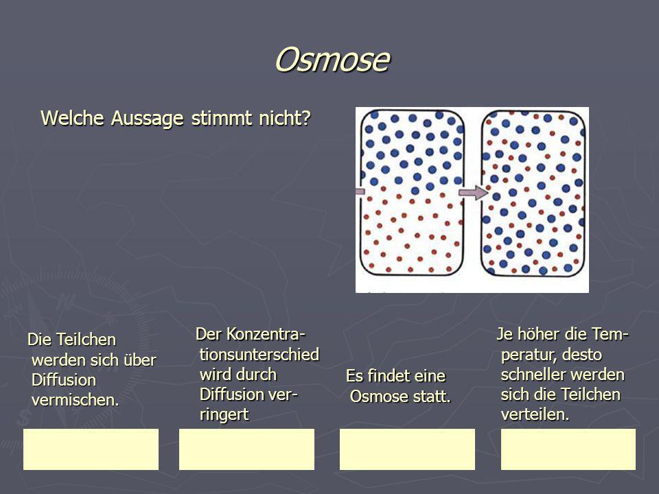 Osmose Der Konzentra-tionsunterschied wird durch Diffusion ver-ringert