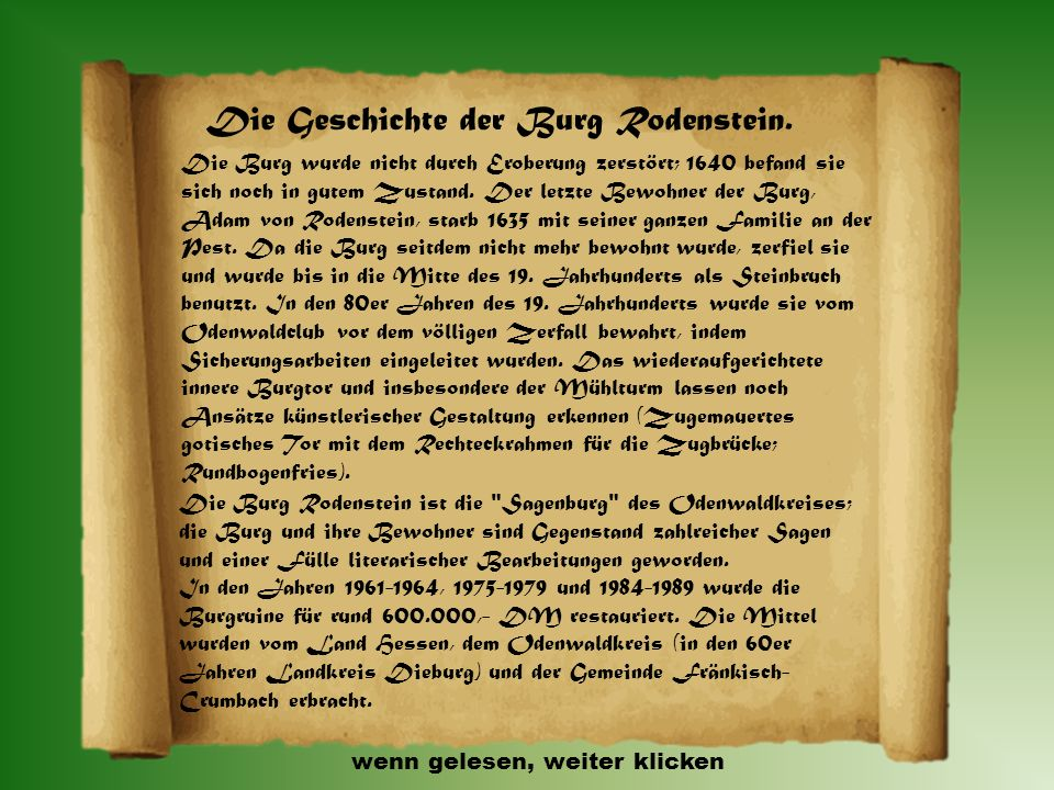 Die Geschichte der Burg Rodenstein.