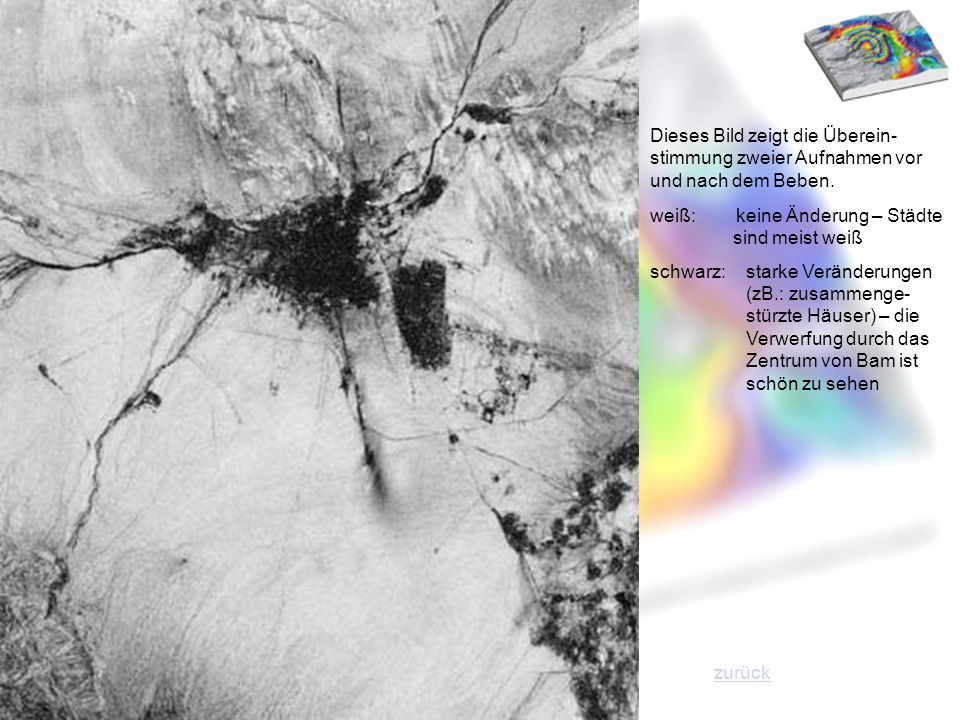 Dieses Bild zeigt die Überein-stimmung zweier Aufnahmen vor und nach dem Beben.