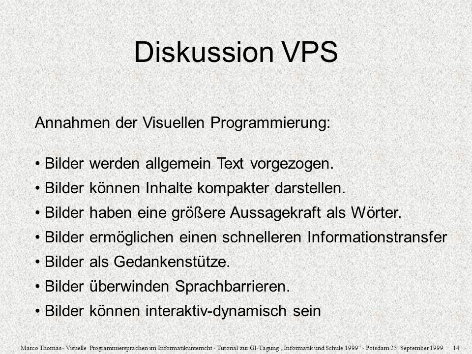 Diskussion VPS Annahmen der Visuellen Programmierung: