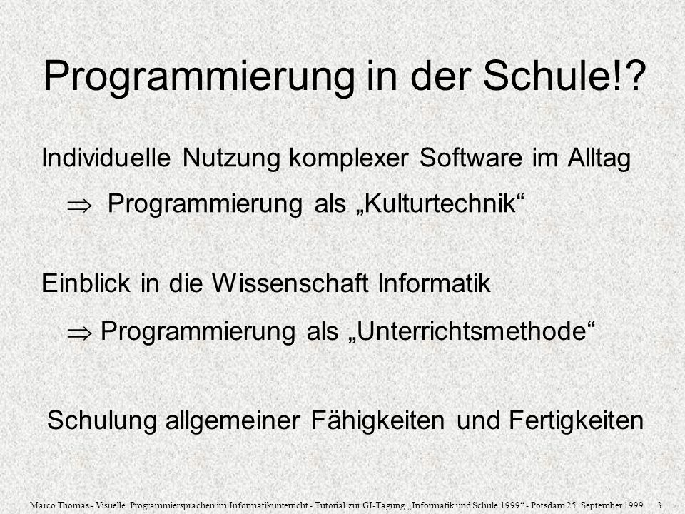 Programmierung in der Schule!