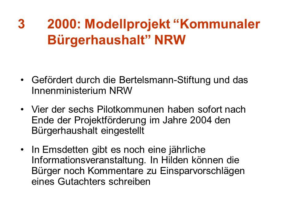 3 2000: Modellprojekt Kommunaler Bürgerhaushalt NRW