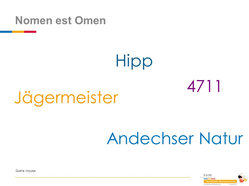 Nomen est Omen Hipp 4711 Jägermeister Andechser Natur Quelle: impulse