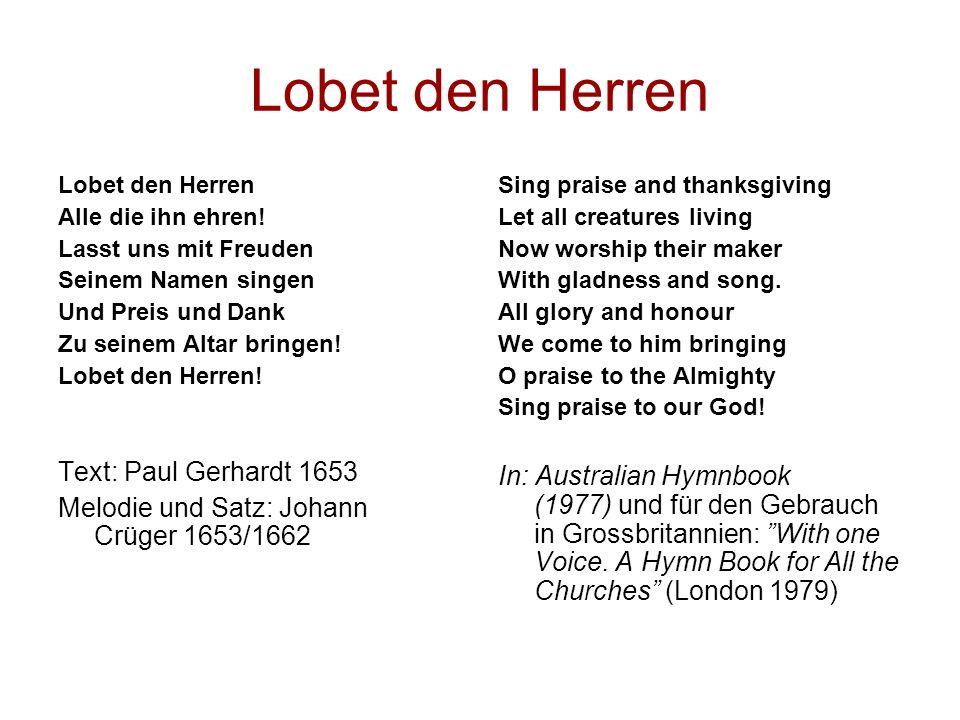 Lobet den Herren Text: Paul Gerhardt 1653