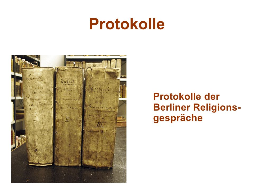 Protokolle Protokolle der Berliner Religions-gespräche