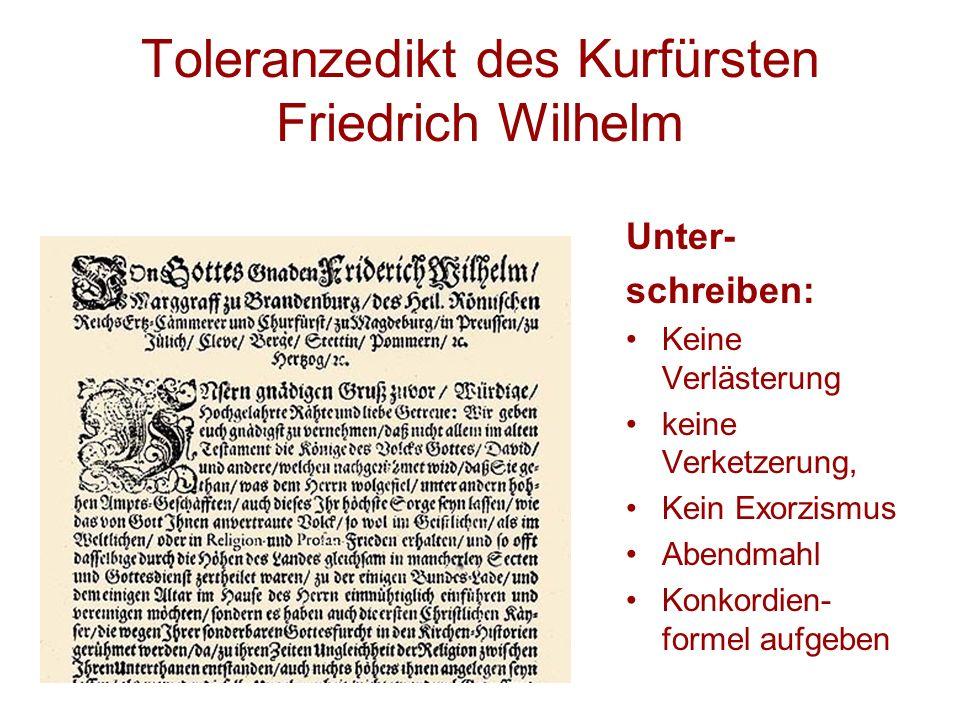 Toleranzedikt des Kurfürsten Friedrich Wilhelm