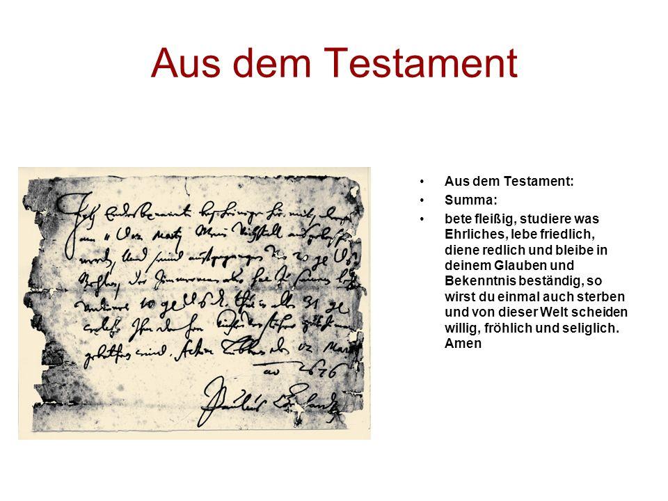Aus dem Testament Aus dem Testament: Summa: