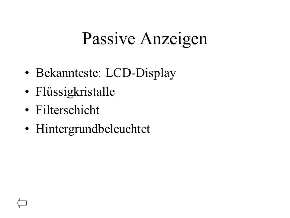 Passive Anzeigen Bekannteste: LCD-Display Flüssigkristalle