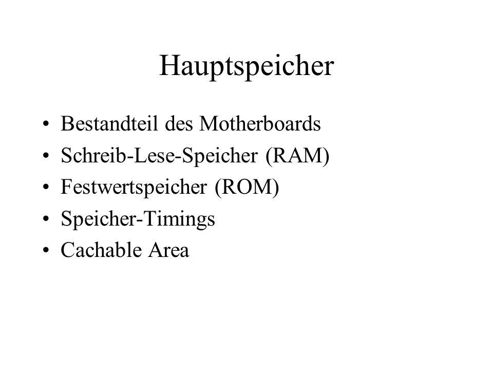 Hauptspeicher Bestandteil des Motherboards Schreib-Lese-Speicher (RAM)