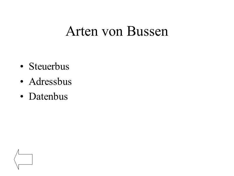 Arten von Bussen Steuerbus Adressbus Datenbus