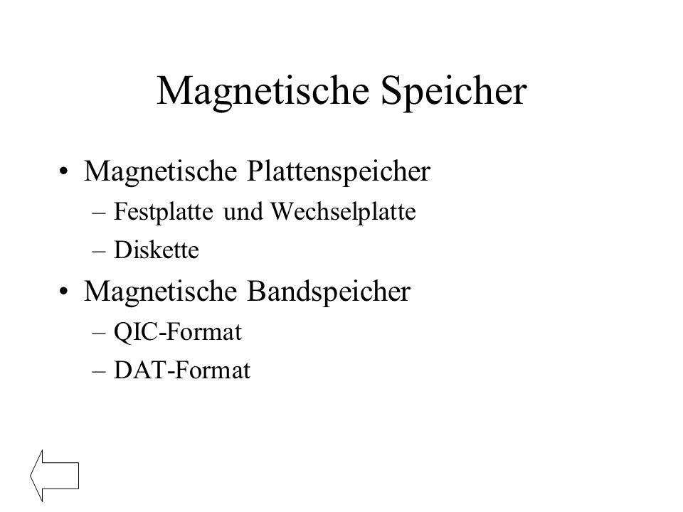 Magnetische Speicher Magnetische Plattenspeicher
