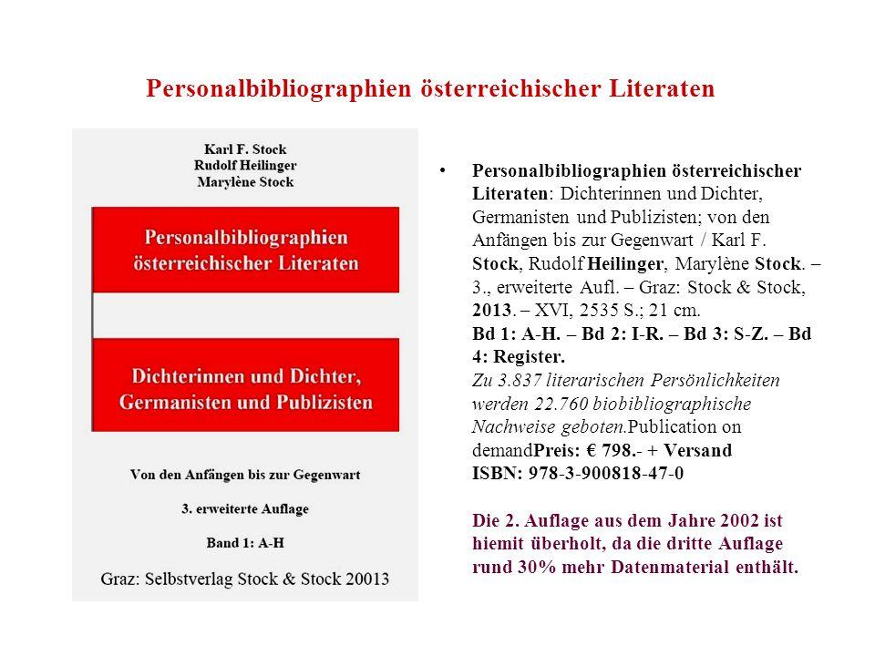 Personalbibliographien österreichischer Literaten