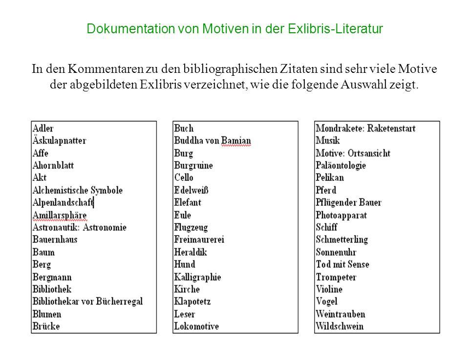 Dokumentation von Motiven in der Exlibris-Literatur